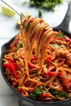One-Pan Veggie Fajita Pasta - So healthy, flavorful, and fast!!!  Another amazing dish that makes our mouth water from the BlogHer network. http://bakerbynature.com/skinny-one-pan-veggie-fajita-pasta/