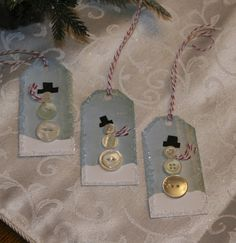 Cute button snowman tags