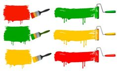 Coloful Paint brushes design elements 04 vector