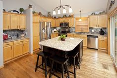 Kraftmaid Maple With Toffee Stain Cabinets With Granite