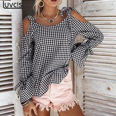 2017 New Bow Plaid Shirt Women Blouse Elegant Flare Sleeve Women Blusas Shirts Chemise Femme Kimono Street Style Chic, Plaid Shirt Women, Winter Typ, Look Chic, Shirt Blouses, Tee Shirt, Lace Blouses, Blouses For Women, Ideias Fashion