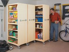 Easy-access rolling cabinets are perfect for storing tools, garden supplies, and other bulky items. Tall, mobile organizers line up in your garage like giant filing cabinets. Simply pull out one of the units, grab what you need, and then roll it back in place.