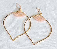 Pink Opal Lotus Earrings  hoop earrings  yoga by HawaiiGiftShop