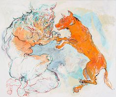 Marjatta Tapiola: Koira ja Minotauros, 2010, tempera kankaalle, 200x240 cm - Bukowskis Contemporary F178