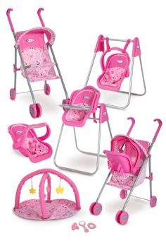 Graco Play Set - Stroller with Canopy, Swing / High Chair, Playgym, Baby Monitors and 3 Piece Accessories Baby Doll Nursery, Baby Doll Toys, Baby Alive Dolls, Baby Doll Clothes, Little Girl Toys, Toys For Girls, Kids Toys, Baby Dolls For Kids, Girls Fun