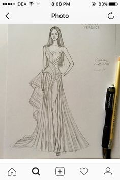 Pencil sketch unfinished gorgeous naomi campbell wearing chic structured atelier versace gown f w 16 17 at the golden globes fashion design studio atelier christian dior 21 new ideas fashion design Dress Design Drawing, Dress Design Sketches, Fashion Design Drawings, Fashion Sketches, Dress Drawing, Dress Designs, Drawing Sketches, Fashion Figure Drawing, Fashion Drawing Dresses