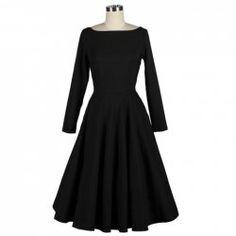 Vintage Boat Neck Empire Waist Long Sleeve Black Pleated Rockabilly Dress For Women