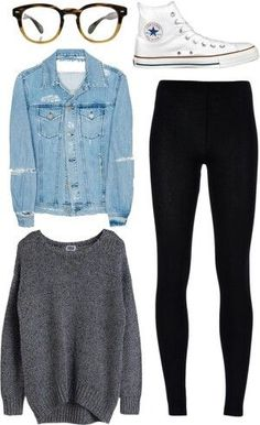 So adorable!!!  || I would get rid of the jean jacket and replace the leggings with black distressed jeans. #jeansjacket