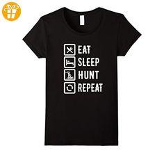 Eat Sleep Hunt Repeat Funny Hunting T-Shirt Damen, Größe S Schwarz (*Partner-Link)