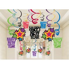 Happy New Year Multicolored Swirl Decorations 30pc
