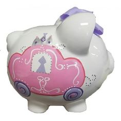 Add a cute touch to a child's bedroom with the Personalized Carriage Piggy Bank. Its lovable, hand-painted design is perfect for a nursery, baby shower, birthday and every occasion in between.