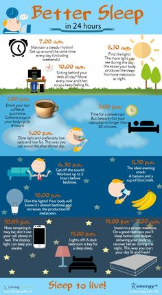 Better sleep in 24 hours! Here's a great schedule of what to do during the day to ensure a good night's sleep at night.  The chart suggests an evening snack of a banana (high in potassium) and hot milk (high in calcium). Here's a link to an interesting article showing studies on how these minerals can calm sleeplessness and insomnia: http://www.nutritionbreakthroughs.com/blog/2013/04/24/studies-show-potassium-and-calcium-can-remedy-insomnia/