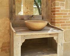 MUEBLE de BAÑO hecho con madera de palet reciclada con lavabos
