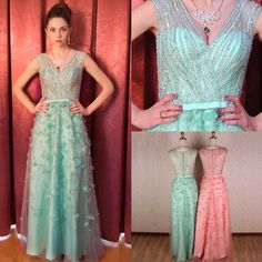 Sequined Sparkly Handmade Evening Prom Dress Full Length