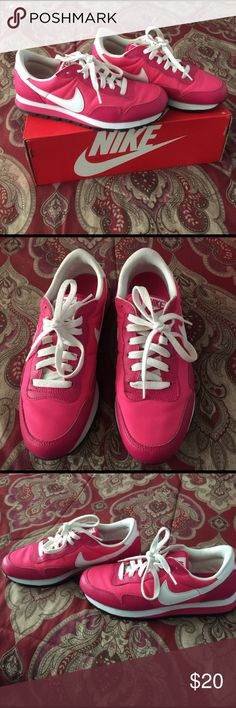 Pink and White Nike Sneakers in great condition, other than laces. These are in youth size of a 6. According to online chart it is a size 7.5 in women's. Nike Shoes Athletic Shoes