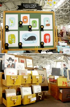fun way to display paper goods ~ SF Renegade: lulu dee design booth