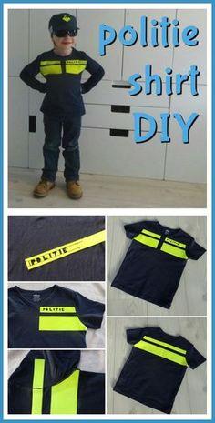 DIY: een politie shirt voor de verkleedkist maken. Police outfit #leukmetkids… Sewing For Kids, Diy For Kids, Cool Kids, Diy Clothing, Clothing Patterns, Police Crafts, Kids Police, Police Outfit, School Costume
