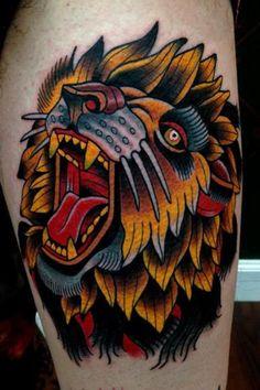 Old School Lion Tattoo , Tattoo Ink Design