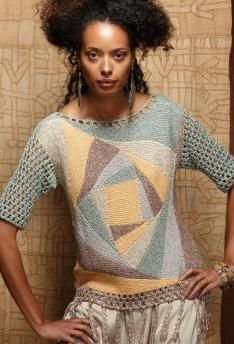 Patchwork Sweater - Ladies ethnic-style pullover of Schachenmayr select Reflect.