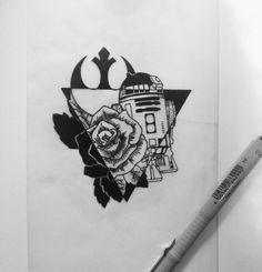 「 Sketch for @sunthera !! #starwars #starwarstattoo #dastattooz #dotwork #blackwork #blackndark #blackt #blxckink #btattooing #iblackwork #r2d2 #rosetattoo 」