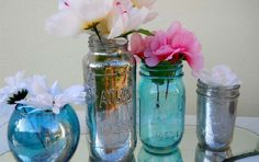DIY Mercury glass tutorial any color you want and its waterproof.
