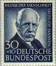 Sello: Fridtjof Nansen (1861-1930), norwegian arctic explorer (Alemania, República Federal) (Welfare: Helpers of mankind) Mi:DE 176,Yt:DE 62