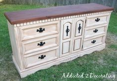 How to paint, distress  antique a piece of furniture.  Want to do this to our bedroom furniture that I don't like anymore!  :-)