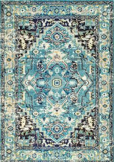 Medallion Blue Area Rug