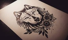 Traditional_uncolored_old_school_wolf_and_flowers_tattoo_design.jpg (1080×647)
