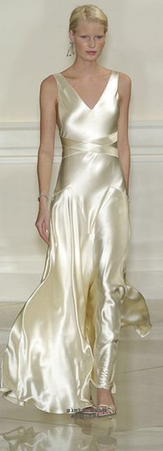 Ralph Lauren champagne silk satin evening gown. Pretty sure I have pinned a…
