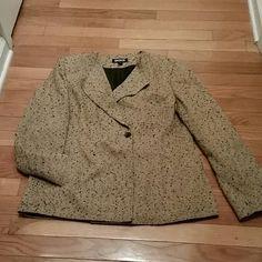 TWEED LOOK KASPER JACKET Nice Dressy Tweed Look Jacket. Single button front and side pockets. Kasper Jackets & Coats