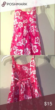 Hawaii print dress Hot pink with white hibiscus style flowers. 100% cotton Dresses Casual