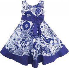 Mädchen Kleid Blau Und Lila Blume Bogen Binden Prinzessin Gr.116: Amazon.de: Bekleidung