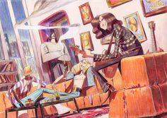 My Led Zeppelin illustration for the incredibly amazing artbook Rock Motel, go check it out !