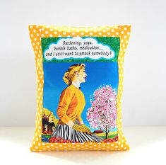 retro style cushion cover yellow and white by LittleJoobieBoo