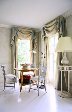 these are in the swag with jabot style i was recommending for over your tub. the rounded part in middle is the swag, side cascadings are the jabots.  its a very classic window treatment.
