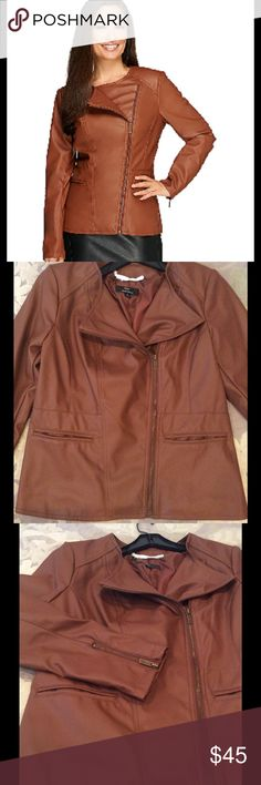 Faux Leather Asymmetric Peplum Jacket - NWOT A great look w Low Maintenance! It is a Cognac Color, faux Leather jacket that is machine washable. Features: Peplum Detail, round neckline, asymmetric zip front, shoulder yokes, waist seam w pockets, lined. Fitted to flatter. This is listed as NWT, but it's NWOT, Never Worn, but was a gift so the tag is gone. Dennis Basso Jackets & Coats