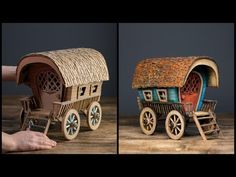 ❣DIY Vardo Wagon Using Cardboard❣ crafts crafts potter crafts glue gun crafts Diy Crafts Hacks, Foam Crafts, Diy Home Crafts, Cardboard Toys, Cardboard Houses, Cardboard Playhouse, Cardboard Furniture, Paper Straws, Little Boxes