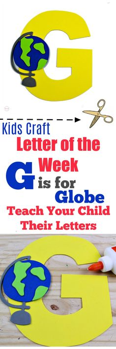 Weekly letter craft series! G is for Globe kids craft idea. Free printable letter template.