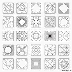 Set of geometric elements / icons, square pattern, vector illustration, un-expanded strokes - stock vector Geometric Patterns, Geometric Designs, Geometric Shapes, Fractal Geometry, Fractal Art, Free Vector Files, Vector Free, Principals Of Design, Square Drawing