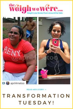 Transformation Tuesday from TheWeighWeWere.com! She's great motivation for weightloss before and after results.