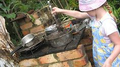 let the children play:   mud pie kitchens ....pots,kettles,  pans, pie plates, colanders, buckets, ladles, spoons, shakers, utensils, stones, shells, leaves, flowers, grass, water, soil, plastic insects