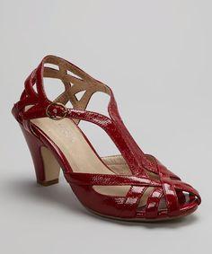 Red Patent Carla Peep-Toe Shoe