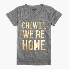 """Star Wars for J.Crew women's """"Chewie, we're home"""" T-shirt Size XXXS Grey J Crew T Shirts, J Crew Tops, Home T Shirts, Crew Shirt, Tee Shirts, Disney Diy, Disney Trips, Funny Disney, Disney Vacations"""