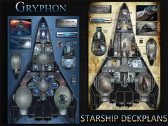 24x36 poster & miniature. A sleek mercenary ship and a refurbished variant for your science-fiction / space RPG.
