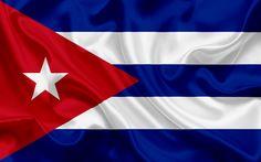 Download wallpapers Cuban flag, Cuba, Latin America, silk flag, emblems, flag of Cuba