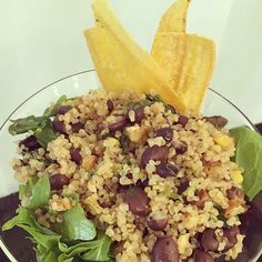 Quinoa salad with plantain. Quinoa Salad, Cantaloupe, Risotto, Catering, Fruit, Ethnic Recipes, Food, Kitchens, Catering Business