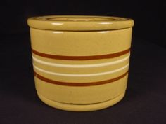 RARE 7 INCH BANDED CROCK & LID YELLOW WARE MINT