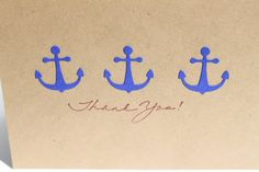 Nautical Thank You Cards Anchors by RoyalRegards on Etsy, $14.00