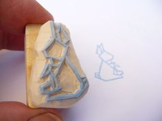 Origami+bunny+hand+carved+rubber+stamp+mounted+on+a+by+Kraftille,+€6.00